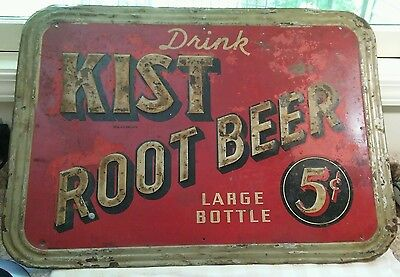 "Vintage 1940's Kist Root Beer 5c Soda Pop Gas Station 27+"" Embossed Metal Sign"