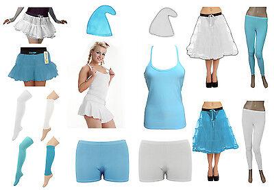 Damen Mädchen Schlumpf Blau Weiß Kostüm Gnome Elfen Hut Schlumpfine Tutu Socken ()