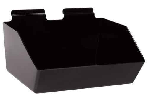 "6 Slatwall Bins Dump Acrylic Black 12"" x 9 ½"" x 5 ½"" Wire Grid Slat Wall Retail"