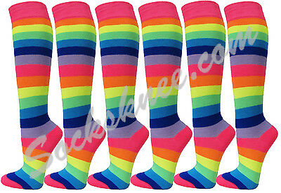 Neon Rainbow Striped Premium Quality Cotton Knee High Socks[6 - Neon Knee High Socks