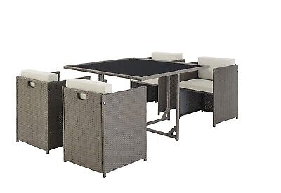 Dark Grey Set of 4 Garden Chairs PE Rattan Outdoor Cube Set- Table NOT Included