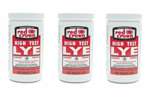 Red Crown High Test Lye for Handcrafted Soap Making NOT Food-Grade 2 lb (3-pack)