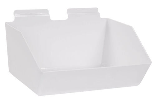 "10 Slatwall Bins Dump Acrylic White 12"" x 9 ½"" x 5 ½"" Wire Grid Slat Wall Retail"
