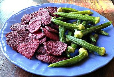 Dried Vegetable Chips (Crisps) Okra, Beets, & Green Beans