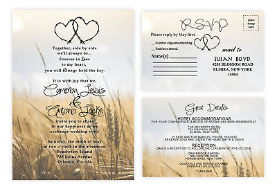 Wedding Invitations Rustic Invites Qty 50 Personalized RSVp Cards and Extra Card](Personalize Invitations)