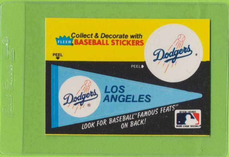 1986 Fleer Baseball's Famous Feats #16 W/ Los Angeles Dodgers Stickers on Front