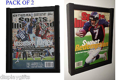 (PACK OF 2 MAGAZINE SPORTS ILLUSTRATED DISPLAY FRAME CASE SHADOW BOX BH02-Q2)