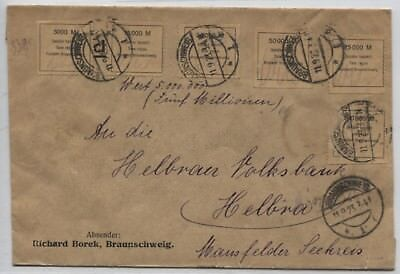 6 Gebührenmarken Fa. Borek R-Brief Braunschweig nach Helbra geprüft BPP!(B07896)