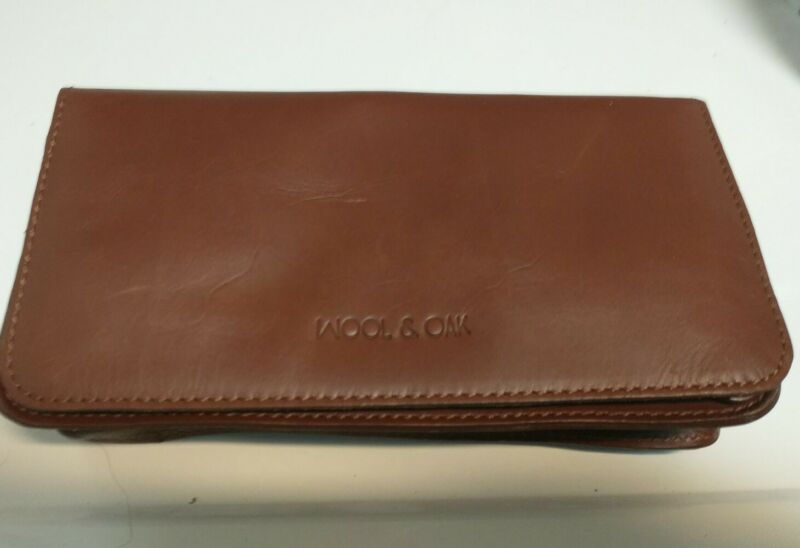 Wool & Oak Small Travel Pouch Brown Leather Travel Accessory