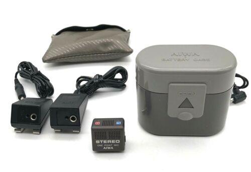 Aiwa Walkman Accessory Lot Stereo Mic and External Battery Case Rare