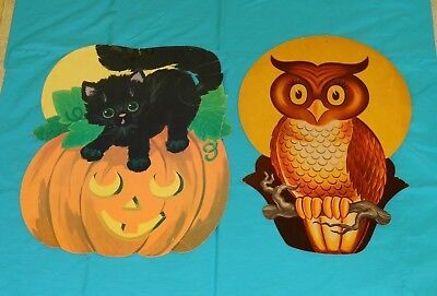 vintage Halloween DECORATIONS lot x2 cat on jack-o-lantern & owl on tree branch