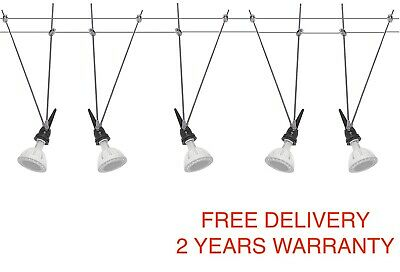Cable / Wire Lightening System LED Suspension Hanging 5x MR16 25W celling...