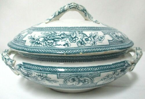 Antique Havre tureen Edge Malkin & Co. China 19th Century blue floral w/ Lid