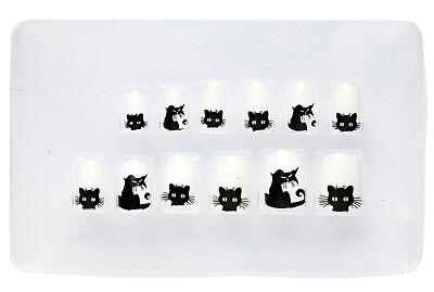 Katzen Halloween Fingernägel für Kinder NEU - Styling Schminke Karneval Fasching ()