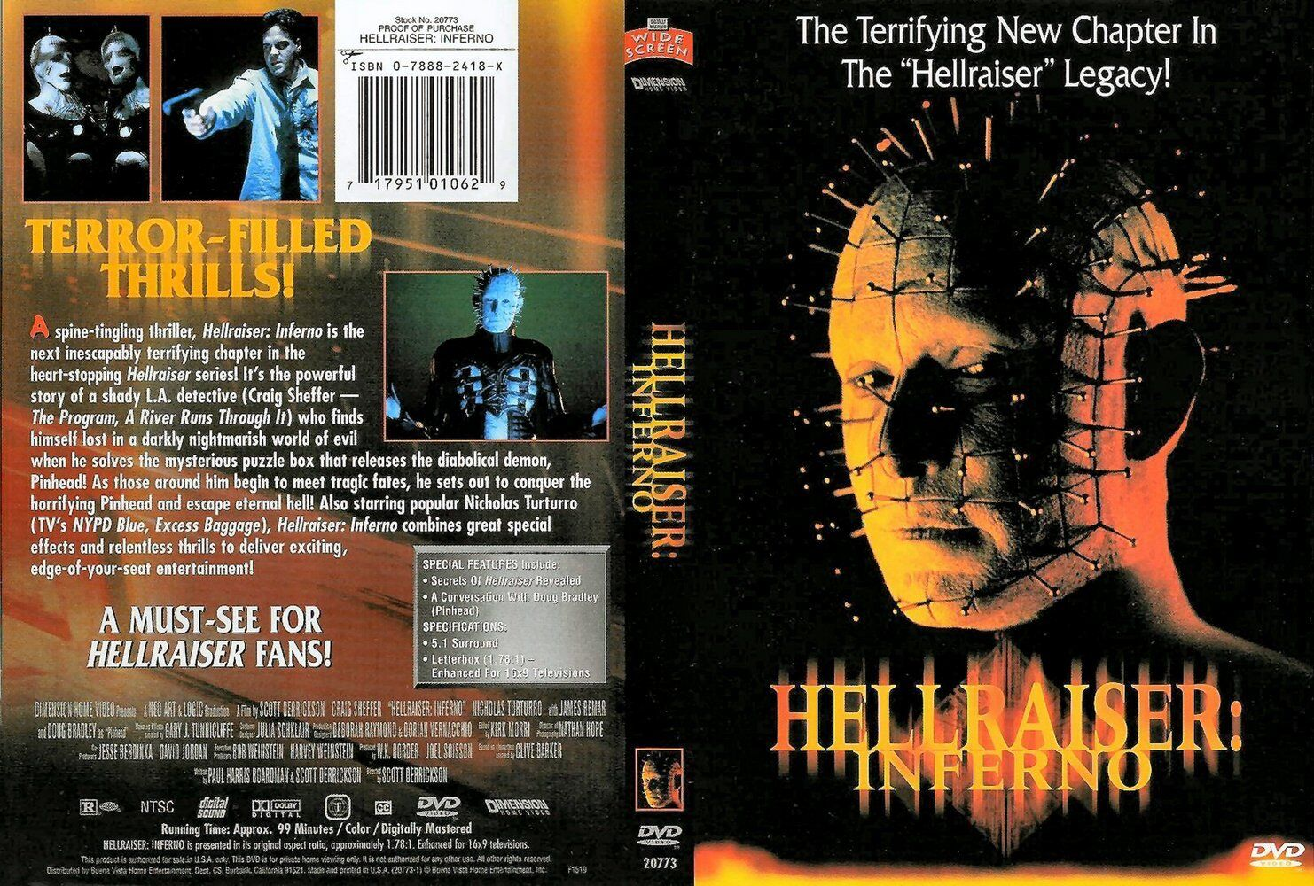 HELLRAISER INFERNO Clive Barker's - NEW DVD Box FREE Post - mmoetwil@hotmail.com