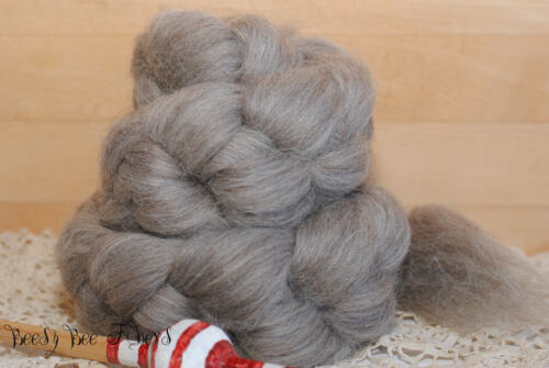 BLUE FACE LEICESTER Undyed Natural Gray BFL Combed Top Natural Wool Roving 4 oz