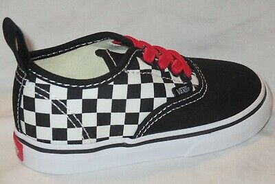 BOY'S VANS AUTHENTIC ELASTIC (CHECKERBOARD) BLACK RED TODDLER'S SHOES SIZE 6