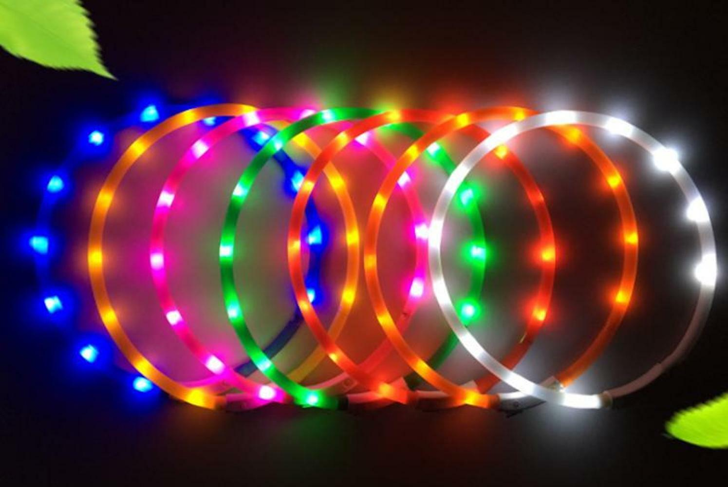 DOT RECHARGEABLE DOTTED LED PET GLOW COLLAR adjustable flash