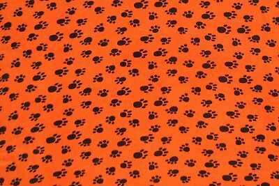 Black Dog Paw on Orange Fleece Throw Blanket