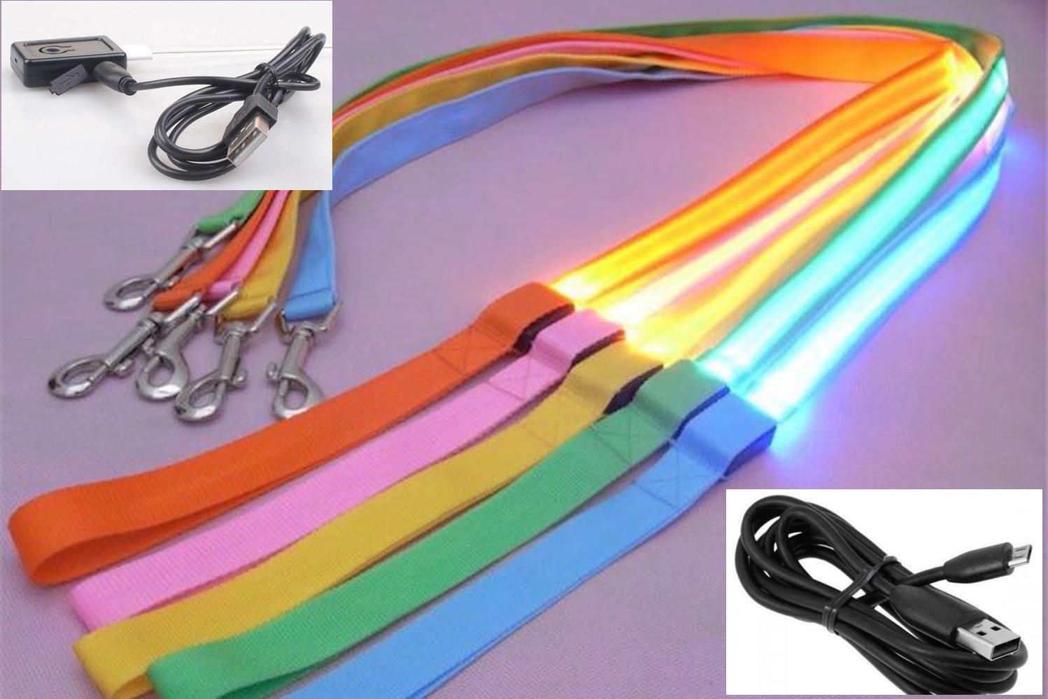 RECHARGEABLE LED Lightup GLOW LEASH Dog Pet Night Safety Flash Lead MICRO USB