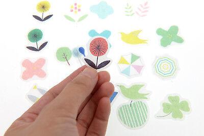 Doodle Garden - 40 pieces doodle garden flower washi Stickers Pack for junk bullet journal