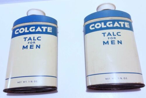 2 Vintage Full Colgate Talc for Men 1.5 oz Cans made in Canada