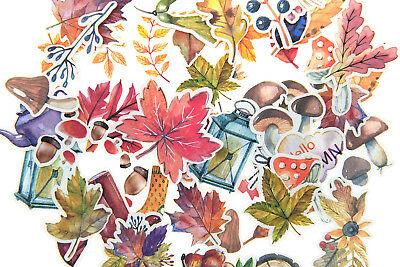 49pc Autumn Leaf Stickers lot Die-cuts for junk bullet journal Fall Deco sticker