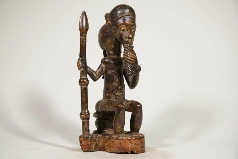 "Captivating Seated Baule Statue 16.25"" - Ivory Coast - African Art"
