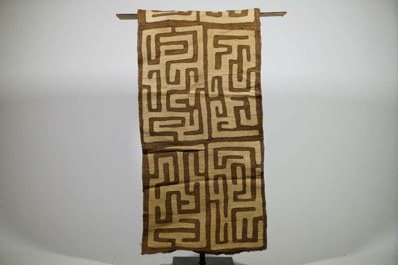 "Large Kuba Cloth Runner 125"" x 22"" - DRC - African Art"