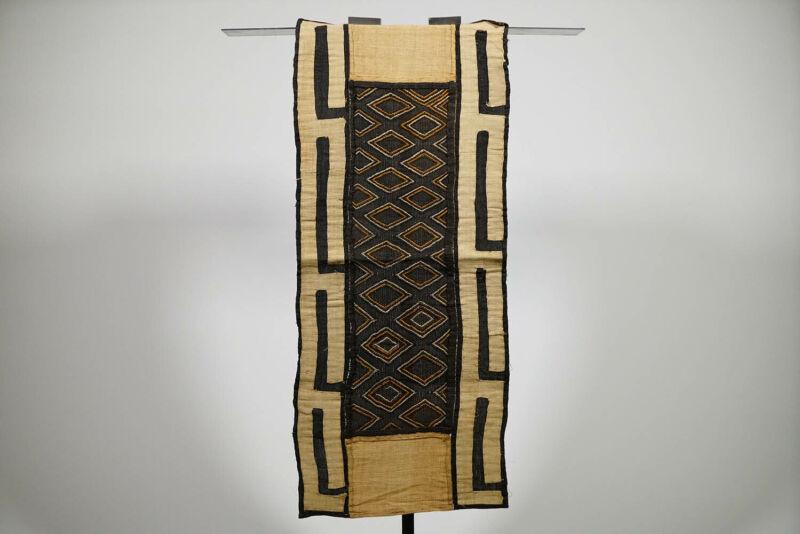 "Beautiful Kuba Cloth Runner 40"" x 17"" - DRC - African Art"