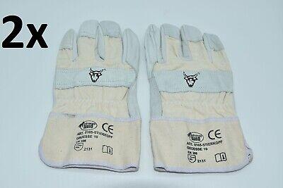 2x Strong Hand Schutzhandschuh Gr. 10 / XL Rindvollleder EN 388 Kat. 2 Handschuh