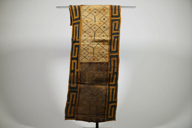 "Embroidered Hand Woven African Kuba Cloth Textile 61"" x 18"""