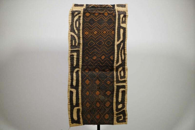 "Geometric Kuba Cloth Runner Textile 75"" x 20"" - DRC - African Art"