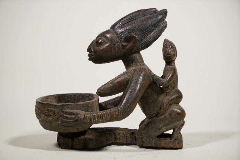 "Beautiful Yoruba Female Offering Bowl 9"" - Nigeria - African Art"