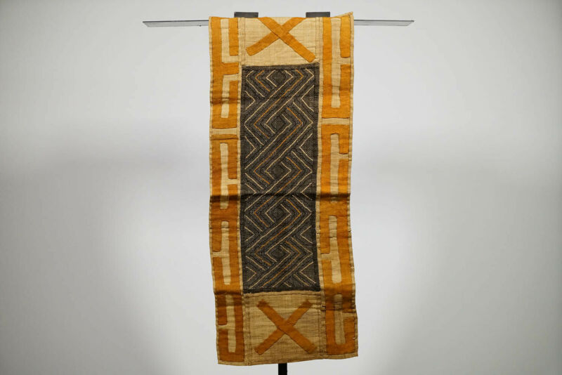 "Beautiful Kuba Cloth Textile Runner 35"" x 15"" - DRC - African Art"