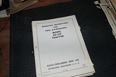 Allis Chalmers Hd-21p Tractor Crawler Dozer Owner Operator Operation Manual Book