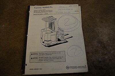 Bt Prime Mover Rr-30c Electric Reach Truck Parts Manual 1992 Catalog Spare List