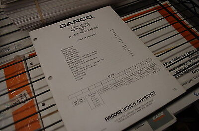 Case 1550 Tractor Carco Model 70a Ps Winch Parts Manual Book Catalog Spare List