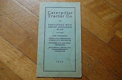Caterpillar Tractor Co 1930 Employee Insurance Plan Brochure Guide Vintage Rare
