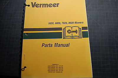 Vermeer 5020 6020 7020 8020 Mower Part Manual Book Hay Cutter Spare List Catalog