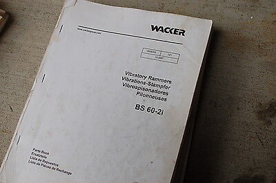 Wacker Bs 60-2i Vibratory Rammer Parts Manual Book List Catalog Jumping Jack