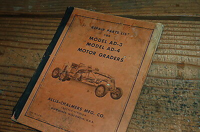 Ac Allis Chalmers Ad3 Ad4 Motor Grader Parts Manual Book Road Catalog Spare Plow