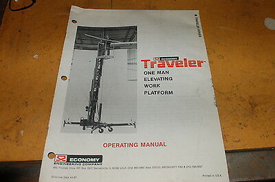 Economy Traveler One Man Elevating Telescopic Boom Lift Owner Operator Manual