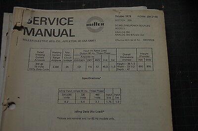 Miller Welder Analog 300 Generator Owner Service Repair Manual Book Shop Owner