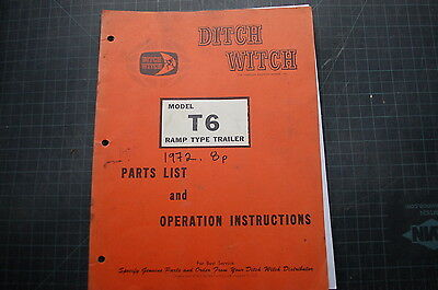 Ditch Witch T6 Ramp Type Trailer Parts Operation Owner Manual Book Operator Shop