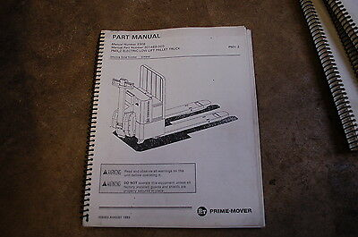 Bt Prime Mover Pmx-2 Electric Low Lift Pallet Truck Parts Manual Catalog Book