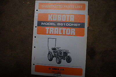 Kubota B6100hst Tractor Parts Manual Book Catalog List Spare Farm 1982 Shop Oem