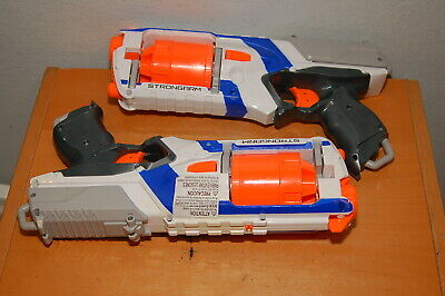 Lot of 2 NERF N Strike Elite STRONGARM 6 Shot Dart Gun White