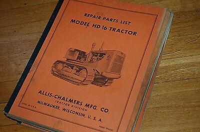 Allis Chalmers Hd16 Tractor Dozer Crawler Parts Manual Book Catalog Spare List