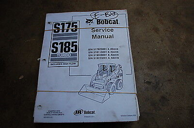 Bobcat S175 S185 Turbo Skid Steer Loader Service Repair Overhaul Manual Book Oem